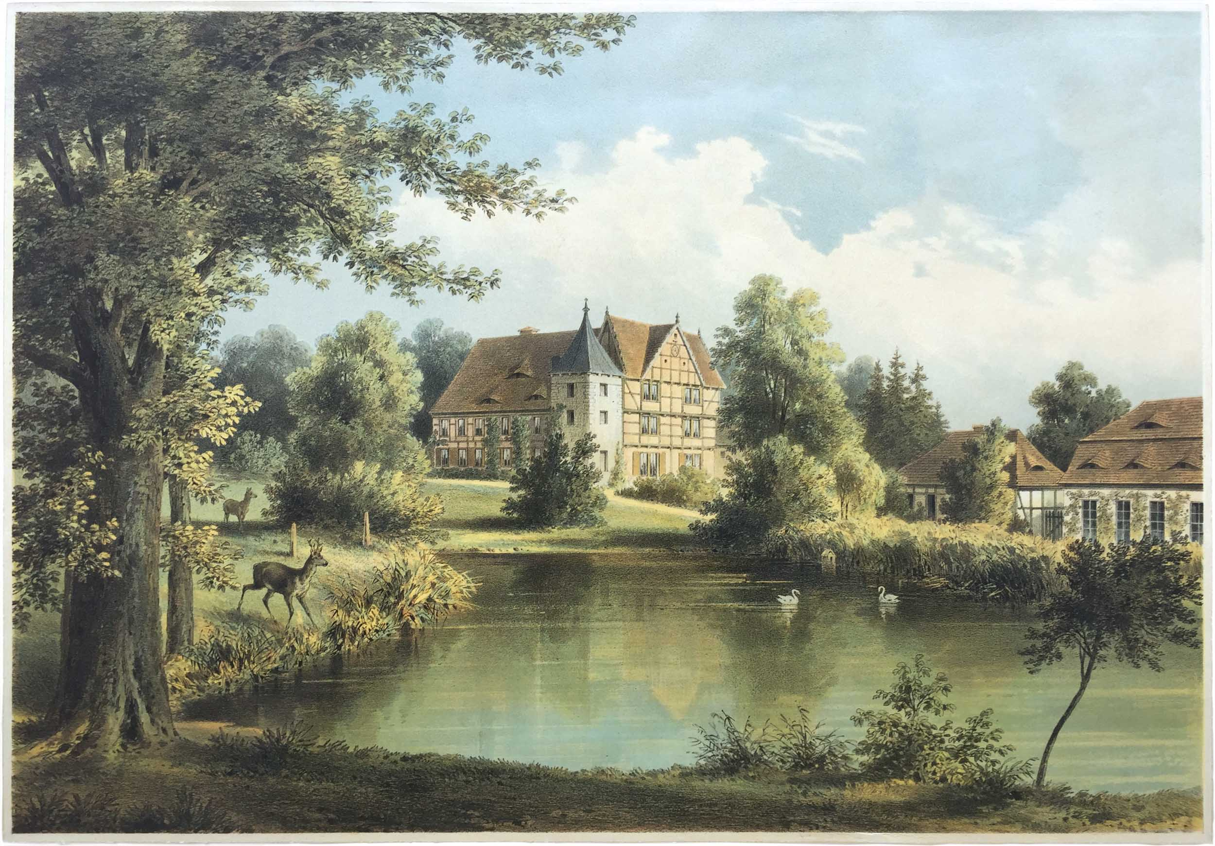 Herrenhaus Briest, Lithografie Wilhelm Loeillot